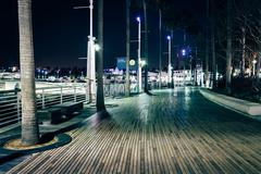 Walkway along the waterfront at night, in Long Beach, California. Stock Photos