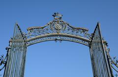 France, gate lock of La Roche Guyon castle Stock Photos