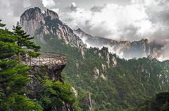 Yellow Mountain Huangshan Terrace - stock photo