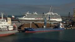 Livorno Italy Port cargo cruise ships 4K 001 Stock Footage