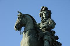 Versailles, bronze statue of Louis 14 - stock photo