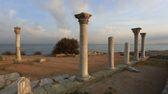 Colonnade in ruins of  Ancient Greek city of Chersonese, Sevastopol, Crimea Stock Footage