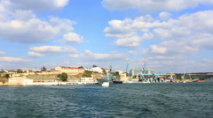 The ships of the Russian navy stand on the anchor parking in the Southern bay Stock Footage