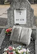 my job, wrote on an old tomb - stock photo