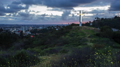 Glowing Cross Shines over Hollywood (4K) Stock Footage
