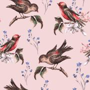 Stock Illustration of Vintage Floral Seamless Background with Birds