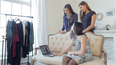 Girls shopaholics to shop online - stock footage