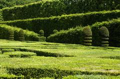 French formal garden of Villandry castel - stock photo