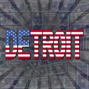 Detroit flag text on dollars sunburst illustration Piirros
