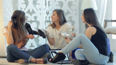Three girlfriends enjoyed fashionable shoes - stock footage