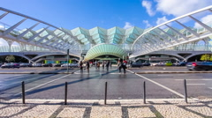 Main entrance of the Gare do Oriente, Lisbon Stock Footage
