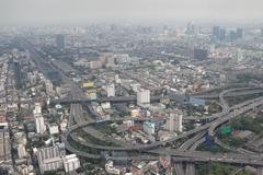 Smog over Bangkok - stock photo