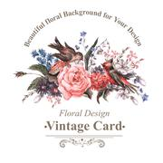Vintage Greeting Card with Flowers and Birds. - stock illustration