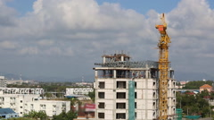 Construction building with crane - stock footage