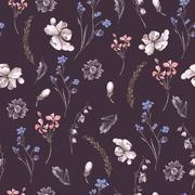Vintage Seamless Background with Wildflowers - stock illustration