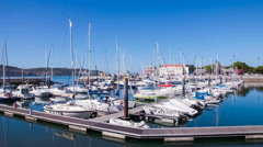 Doca do Bom Sucesso Marina in the Belem district of Lisbon - stock footage