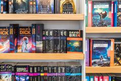 Science Fiction Books For Sale On Library - stock photo