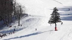 People skiing at Kartepe Mountain on January Stock Footage