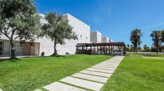 Olive-Trees Garden in Centro Cultural de Belem, Lisbon Stock Footage