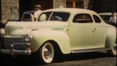 1815 - beautiful new car from the 1940's inside & out - vintage film home movie Stock Footage