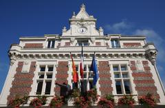 Stock Photo of France, the historical city hall of Villers ur Mer