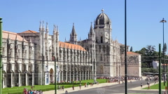 Jeronimos Monastery with the Archeology Museum entrance in Lisbon Stock Footage