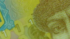 Fragment of the Ukrainian Hryvnia banknote - stock footage