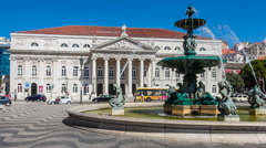 Dona Maria II National Theatre and a fountain in Rossio Square, Lisbon Stock Footage