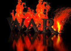 Grunge Metallic Letters write WAR in Flames Stock Illustration