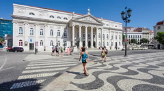 Dona Maria II National Theatre in Lisbon Stock Footage