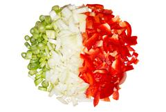 paprika and onions isolated - stock photo