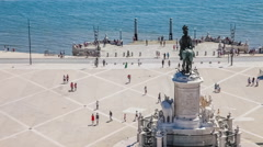 Praca do Comercio with the King Dom Jose statue and Cais da Colunas, Lisbon - stock footage