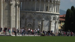 Pisa Italy base of Leaning Tower tourists 4K 038 Stock Footage