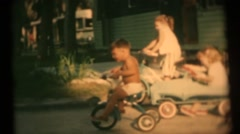 Children at the trailer park Stock Footage