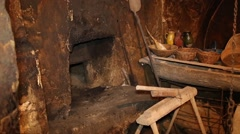 Old hearth in ethno house - stock footage