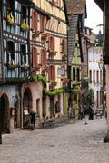 Stock Photo of the picturesque village of Riquewihr in Alsace