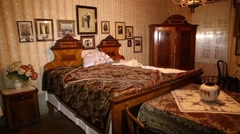 Antique bedchamber set in ethno house Stock Footage