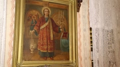 Orthodox icon hanging on the wall Stock Footage