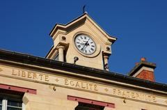 Ile de France, the city hall of Verneuil Sur Seine Stock Photos