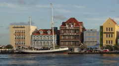 Time lapse close up pan shot Willemstad Curacao Waterfront Stock Footage