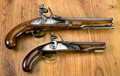 Real Flintlock Pistols. Stock Photos