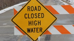 Road Closed High Water Sign Stock Footage