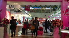 Women's day, shopping in the mall women Stock Footage