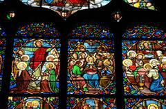France, stained glass window in the cathedral of Pontoise - stock photo