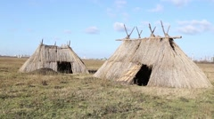 Neolithic settlement replica - stock footage