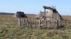 Neolithic village - stock footage