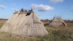 Replica of a neolithic settlement - stock footage
