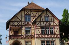 the picturesque village of Riquewihr in Alsace - stock photo