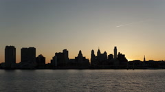 4K Time lapse zoom in Sunset Philadelphia Skyline Stock Footage