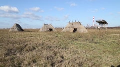 Prehistoric archaeological site near the industrial zone - stock footage